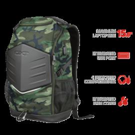 "TRUST Gamer Notebook hátizsák 23302, GXT 1255 Outlaw Gaming Backpack for 15.6"" laptops - camo"