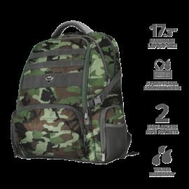 "TRUST Gamer Notebook hátizsák 23868, GXT 1250G Hunter Gaming Backpack for 17.3"" laptops - green camo"