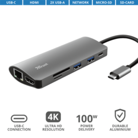 TRUST Hétfunkciós USB-C többportos adapter 23775, Dalyx 7-in-1 USB-C Multiport Adapter