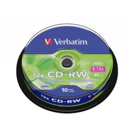 VERBATIM CD-RW lemez, újraírható, SERL, 700MB, 8-10x, 10 db, hengeren