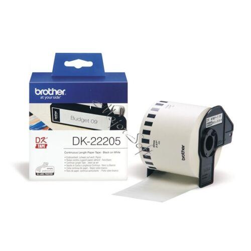 BROTHER Etikett címke DK22205, Fehér alapon fekete papírszalag tekercsben 62mm, 62mm x 30.48M