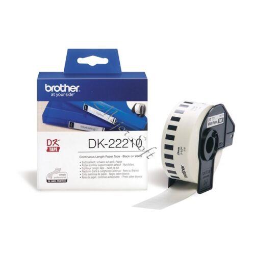 BROTHER Etikett címke DK22210, Fehér alapon fekete papírszalag tekercsben 29mm, 29mm x 30.48M