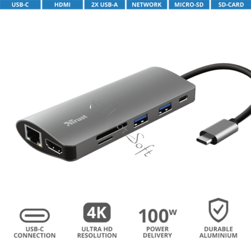 TRUST Hétfunkciós USB-C többportos adapter 23775, Dalyx 7-in-1 USB-C Multiport Adapter